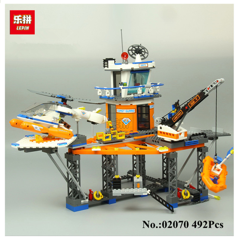 IN-STOCK LEPIN 02070 492PCS Relax Coast Guard City Platform City CITY Series 4210 Assembled Building Blocks Brick Toys a toy a dream lepin 24027 city series 3 in 1 building series american style house villa building blocks 4956 brick toys