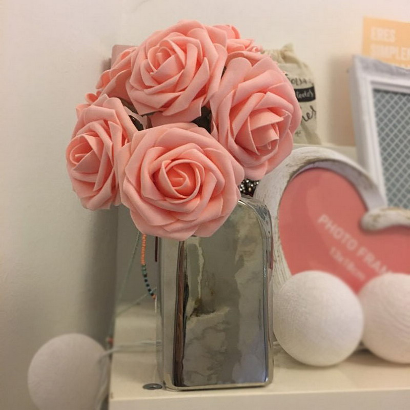 Nuevo 11 colores 10 cabezas 8cm flores de rosas artificiales Novia de - Para fiestas y celebraciones - foto 4