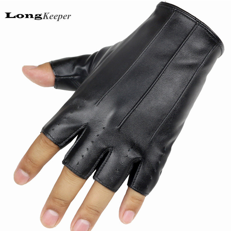 LongKeeper New Men's Dance Gloves Fingerless Leather Handskar för Party Show Luvas för män Black Gold Silver Guantes Ciclismo G139