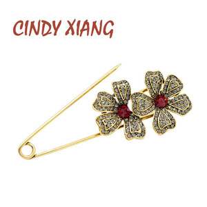 CINDY XIANG 2 Colors Available Rhinestone Flower Big Pin Brooches for Women Vintage Style Beautiful Coat Accessories New Arrival