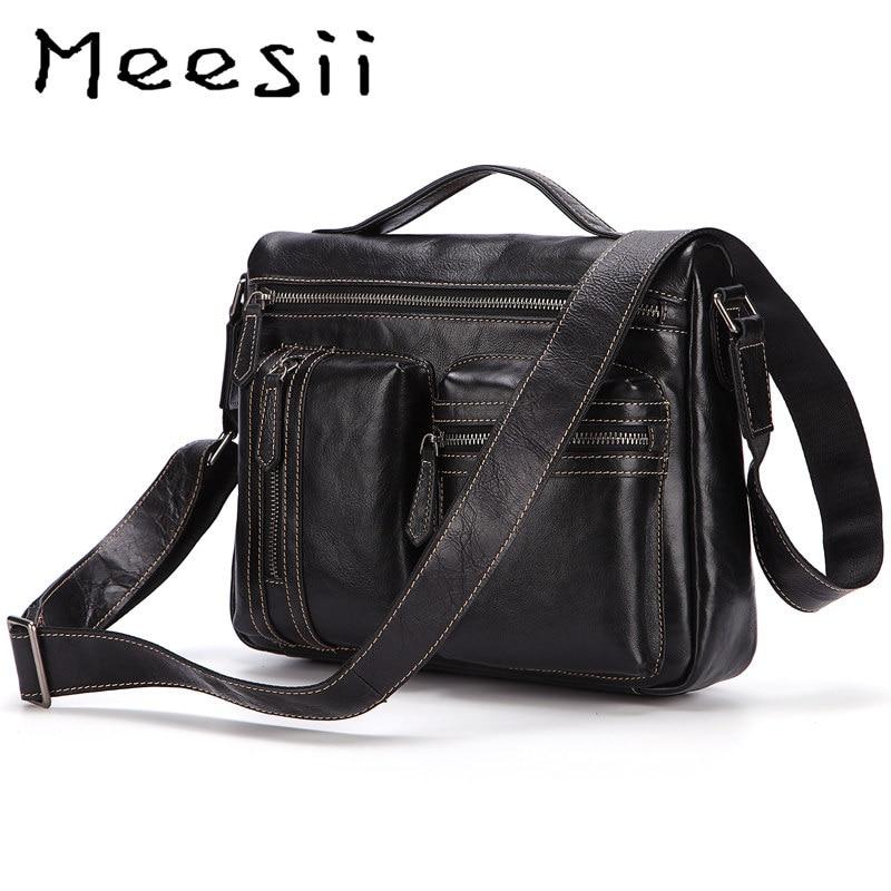 Mens Ladies Genuine Soft Leather Travel Work Bag Manbag Multiple Pockets Black