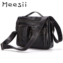 Meesii Men genuine leather Handbag Business Travel Bag Male Large Capacity Zipper Shoulder Soft Crossbody Bags