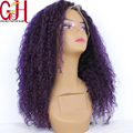 Ombre Purple Curly Wig Brazilian Virgin Human Hair Two Tone Glueless Full Lace & Lace Front  Kinky Curly Wig For Fashion Women