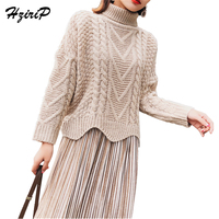 HziriP Winter Fashion Turtleneck Tops Women Pullover Wild Thicken Knitted Long Sleeved Twist Sweater Female Vintage