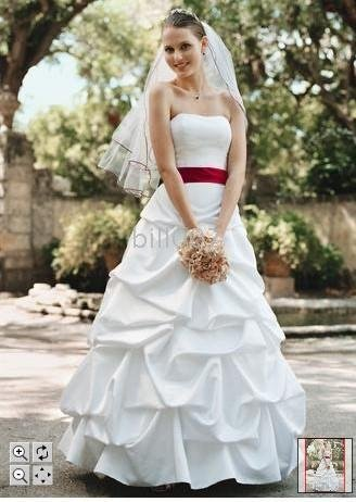 Accented Bridal Gowns new style Ball Gown Red ribbon Wedding Dresses ...