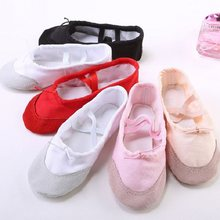 New Ballet Dance Shoes Girls Children Woman Leather Head Soft Ssole Canvas  Flat Slippers For Yoga c21bab963557