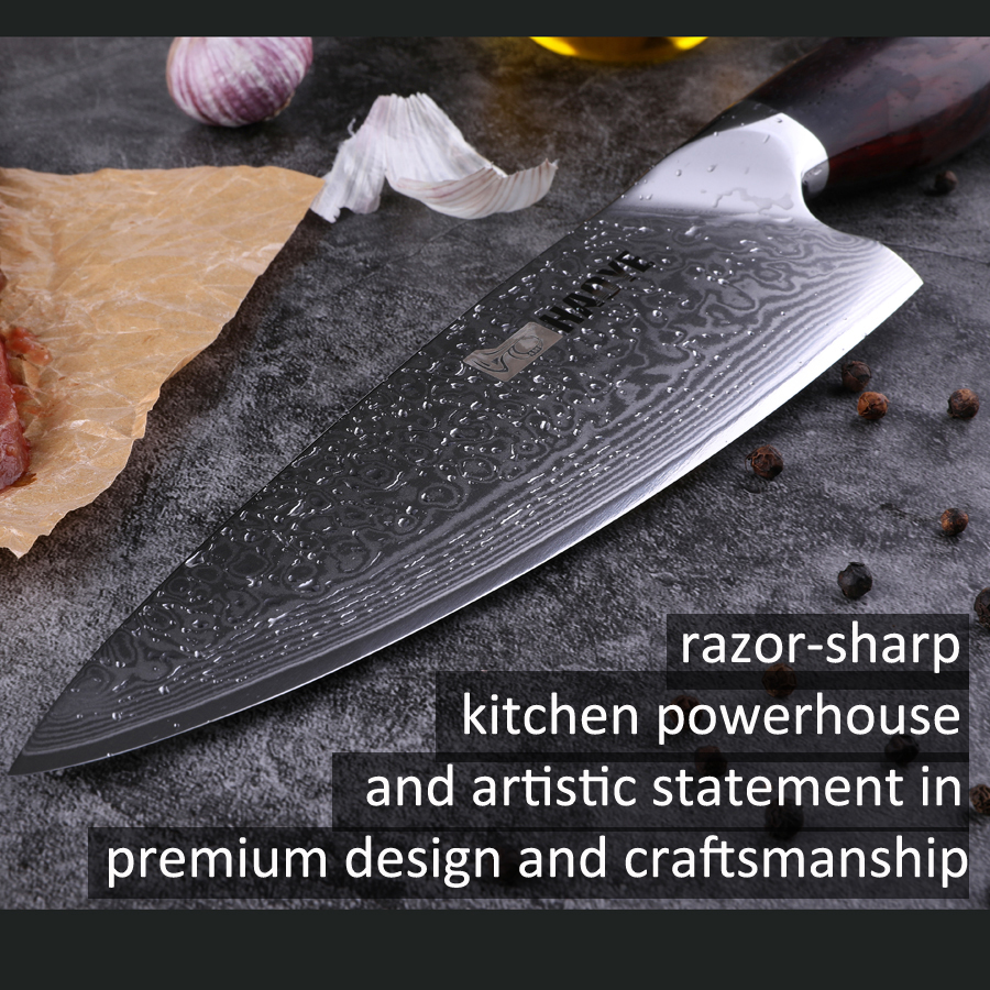 HAOYE 8 inch damascus chef 39 s knife Japanese aus10 vg10 steel professional kitchen knives meat sashimi with rosewood handle NEW in Kitchen Knives from Home amp Garden