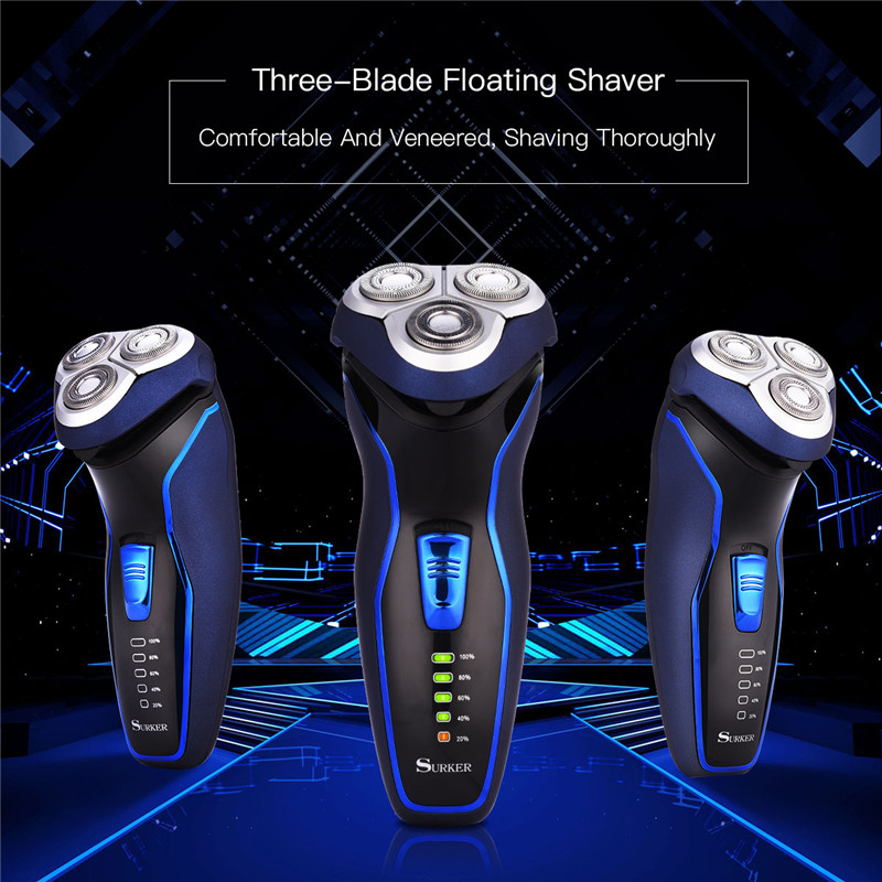 Smart Electric Rechargeable Shaver Razor Washable Men's Shaving Machine 3D Rotary Hair Removal Beard Trimmer 1 Hour Quick Charge braun series 3 electric shaver 3080s electric razor blades shaving machine rechargeable electric shaver for men washable