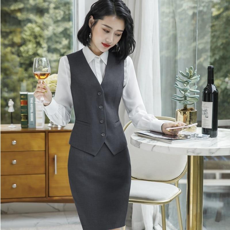 Hauts black Et Uniforme Gilet Formelle Manteau Work Wear Grey Ensemble Formel Qualité Dames Styles Avec Veste Jupe Supérieure Blazers Complet wFHIBq