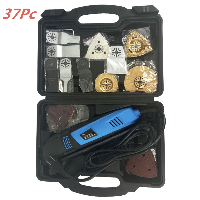 110/220V Variable Speed Electric Multifunction Oscillating Tool Kit Multi-Tool Power Tool Electric Trimmer Saw w/ Accessories TV