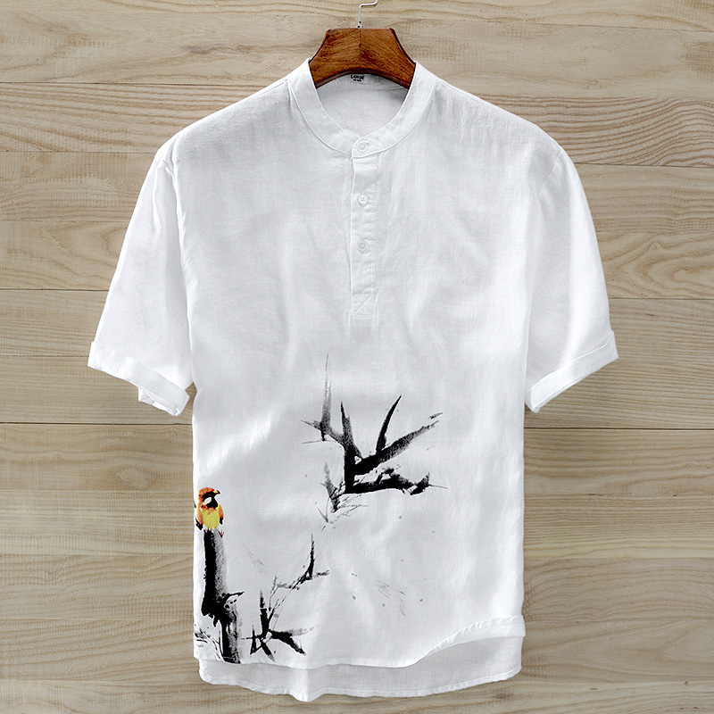 2018 Summer New Men's Short-sleeved Pure Linen Shirt Chinese Style Ink Painting Printing Flax White Shirt Men Camisa Masculina