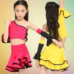 Розовый желтый Обувь для девочек Костюмы для латиноамериканских танцев Salsa танцевальная одежда детская Танцы платье Дети Костюмы для