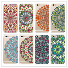 Phone Case for iPhone 5 5s SE 6 6s 6Plus 6s Plus 7 7Plus Colorful Floral Paisley Flower Mandala Henna Clear Silicone Cover Bag