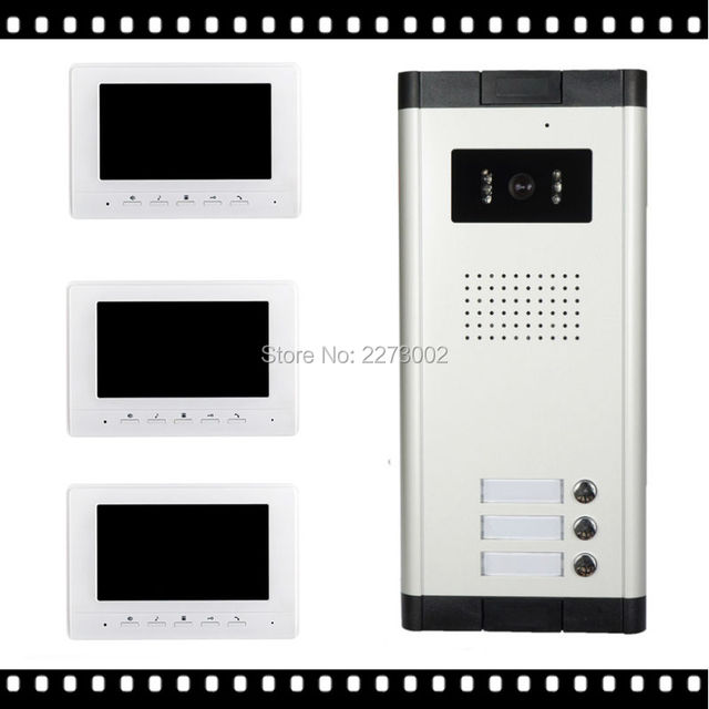 """Бесплатная Доставка Новый 7 """"видео Домофон, Дверь в Квартиру Телефон Система 3 Белые Мониторы 1 HD Камера для 3 Домашних Хозяйств На Складе Оптовой"""