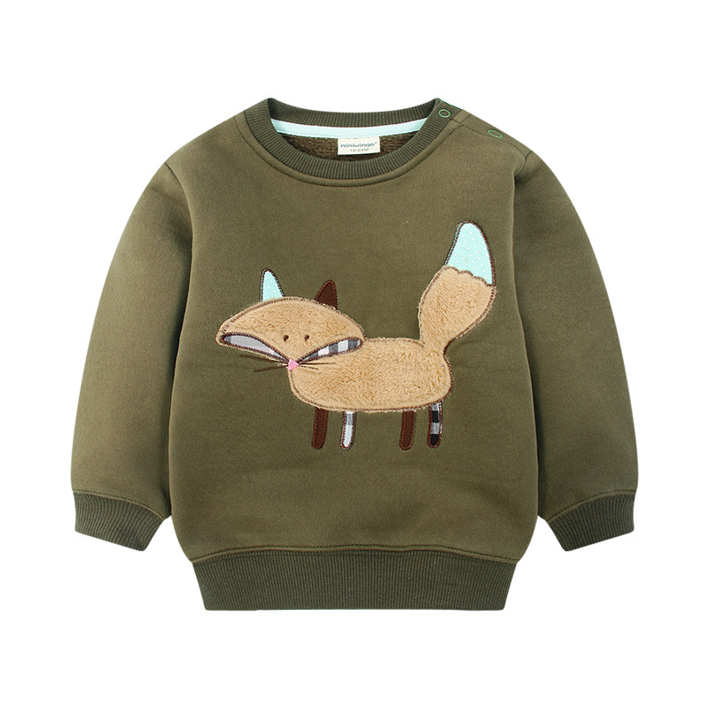 2018 High Quality Children Jacket Baby Boys Fleece Cotton Cat Dinosaur Sweaters Toddlers Kids Cashmere Pullovers Jumpers 1-5Y