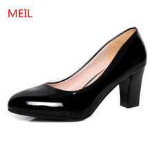 MEIL Fashion Patent leather shoes Women 5 cm High Heels Office Pumps Casual Heels ladies shoes Slip On Women dress Shoes(China)