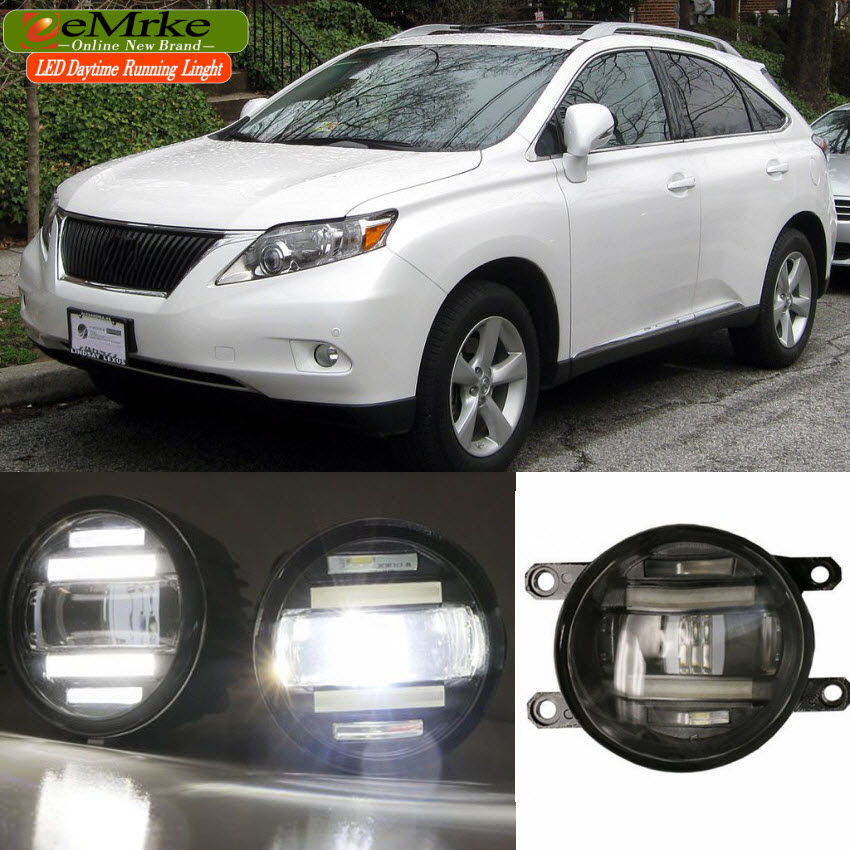 цены eeMrke For Lexus RX350 RX450h AL10 2008-2015 Xenon White High Power 2 in 1 LED DRL Projector Fog Lamp With Lens