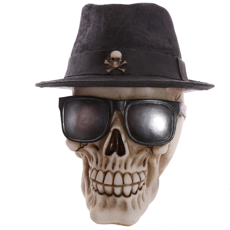Skull In Trilby Hat And Glasses Human Figurine Statue Bone Gothic Skull Head Decorative Horror Ornament Table Top Skeleton Head