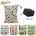 Ohbabyka fraldas 4 + 4 inserção de bambu + 1 tamanho grande molhado saco Conjunto de Embalagem Um Tamanho Ajustável Do Bebê Fraldas Fralda de Pano Do Bebê 9 pçs/lote
