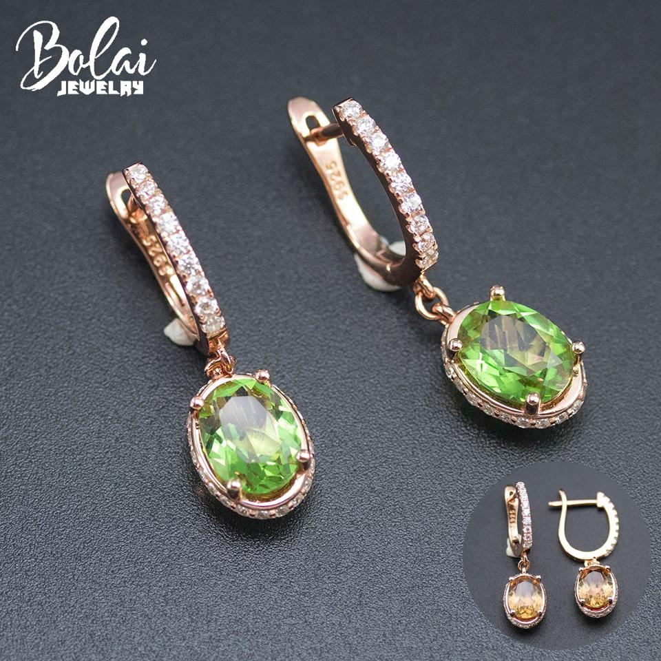 Bolai Color Change Zultanit Clip Earrings Genuine 925 Sterling Silver Nano Diaspore Oval Gemstone Trend Jewelry 2019 Women's