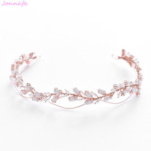 Jonnafe 2019 subió oro cristal boda Tiara nupcial hecho a mano corona del pelo de la venda accesorios mujer joyería de pelo