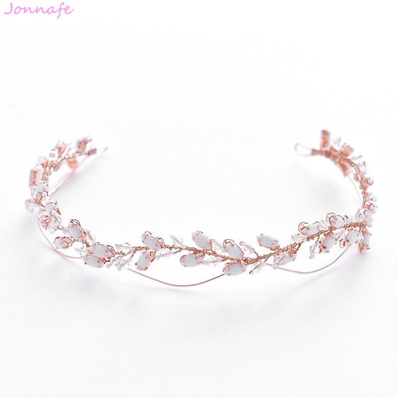 Jonnafe 2019 Rose Gold Crystal Wedding Headpiece Tiara Handmade Bridal Headband Hair Crown Accessories Women Hair Jewelry