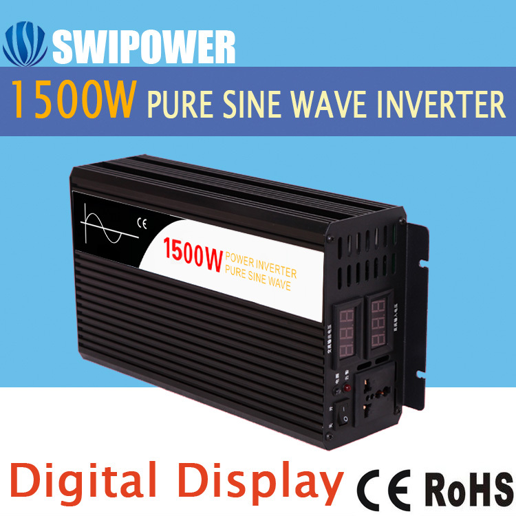 1500W pure sine wave solar power inverter DC 12V 24V 48V  to AC 110V 220V digital display peak power 3000w rated power 1500w pure sine wave inverter dc12v 24v to ac110v 220v 50hz 60hz for solar system