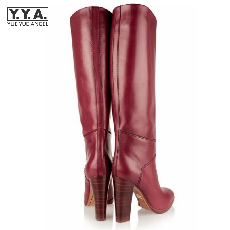 Sexy Winter Womens Pointy Toe Thick Heels Bootie For Woman Round Toe Block Knee High Boots Ladies Pu Leather Shoes Big Size new touch screen touch glass for delta dop b07s410 touch panel dop b07s410 dopb07s410 freeship 1 year warranty