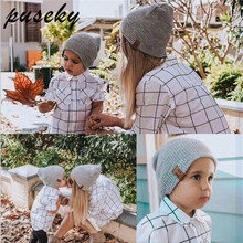 42d8cfe7781 Puseky 2 Piece Set Winter Hats For Matching Family Dad Baby Boys Knitted  Hat Beanies Cap