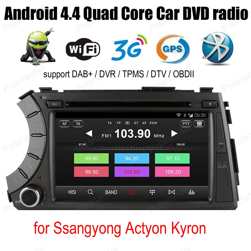 Android4 4 Quad Core Car CD DVD player For Ssangyong Actyon Kyron Support font b TPMS