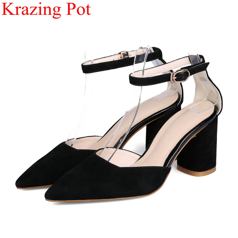 2018 superstar buckle strap summer shoes kid suede high heels women sandals pointed toe elegant office lady sweet brand shoe L21 lady big size 4 15 elegant summer glitter buckle strap soft pointed toe thin high heeled sandals shoes women pumps 5colors girls