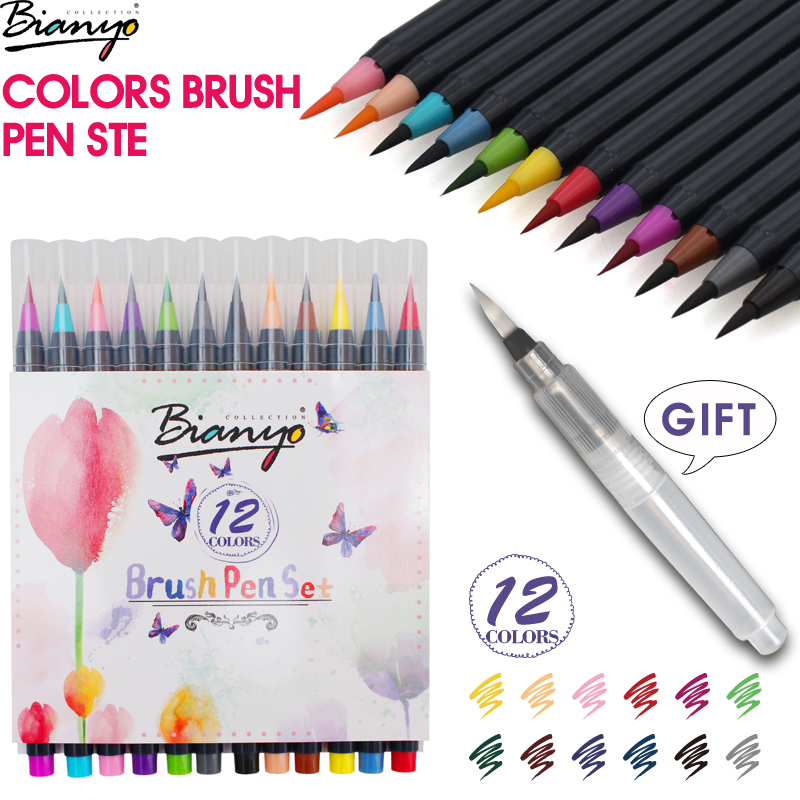 Bianyo 12Colors Soft Brush Calligraphy Pen Watercolor Marker Fineliner Art Markers for Sketch Manga Graphic Drawing