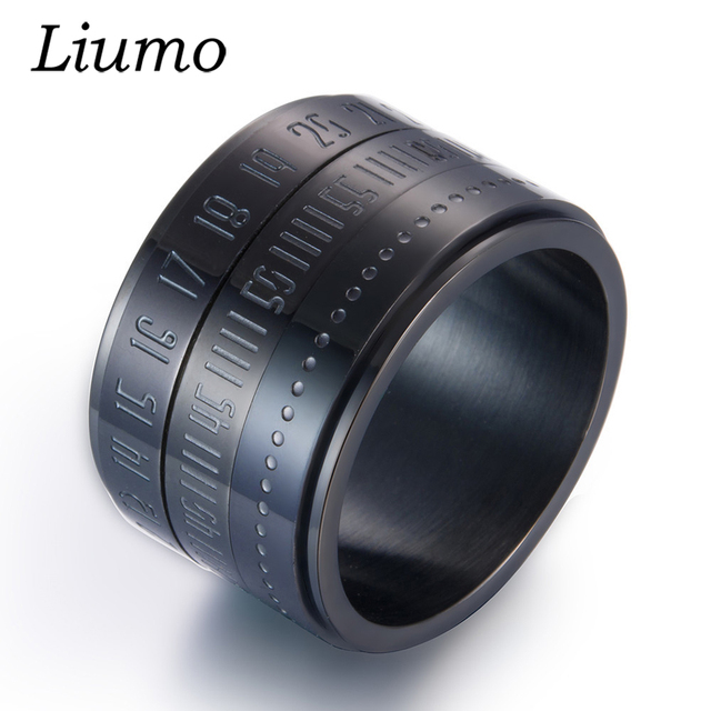 Liumo Fashion Black Gold Silver Color 14MM Wide Roman Numerals Spinner Rotate 31