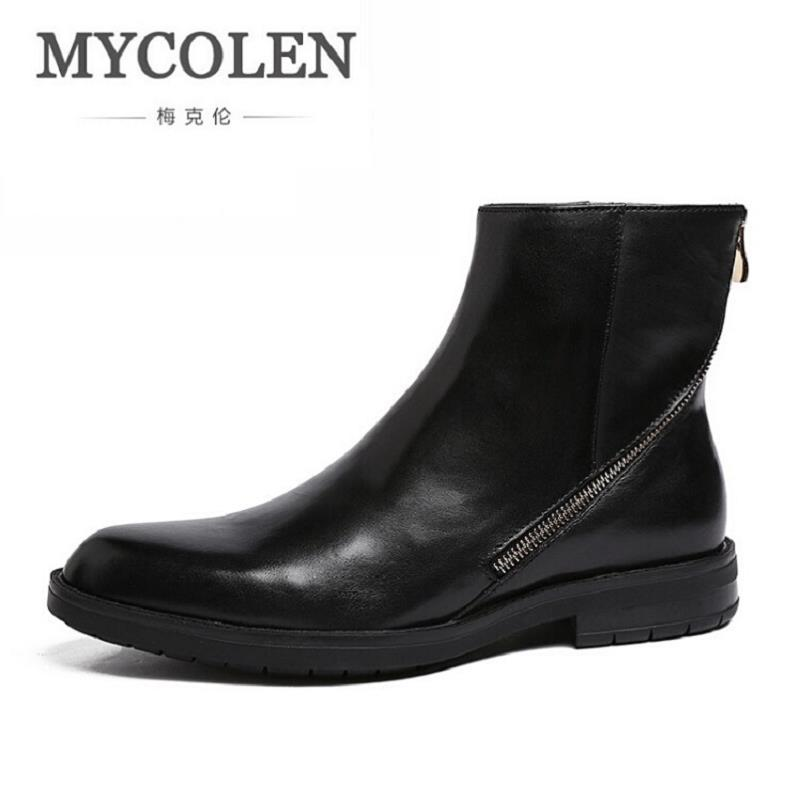 MYCOLEN Autumn Fashion Casual Ankle Chelsea Boots Male Shoes Comfort Leather Quality Slip Ons Motorcycle Man Boot Zipper mycolen brand boots breathable slip on chelsea boots genuine leather male wear boots fashion casual man military shose sapatos