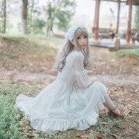 Women White Chiffon Lolita Dress Summer Half Sleeve Bowknot Flouncing Dresses