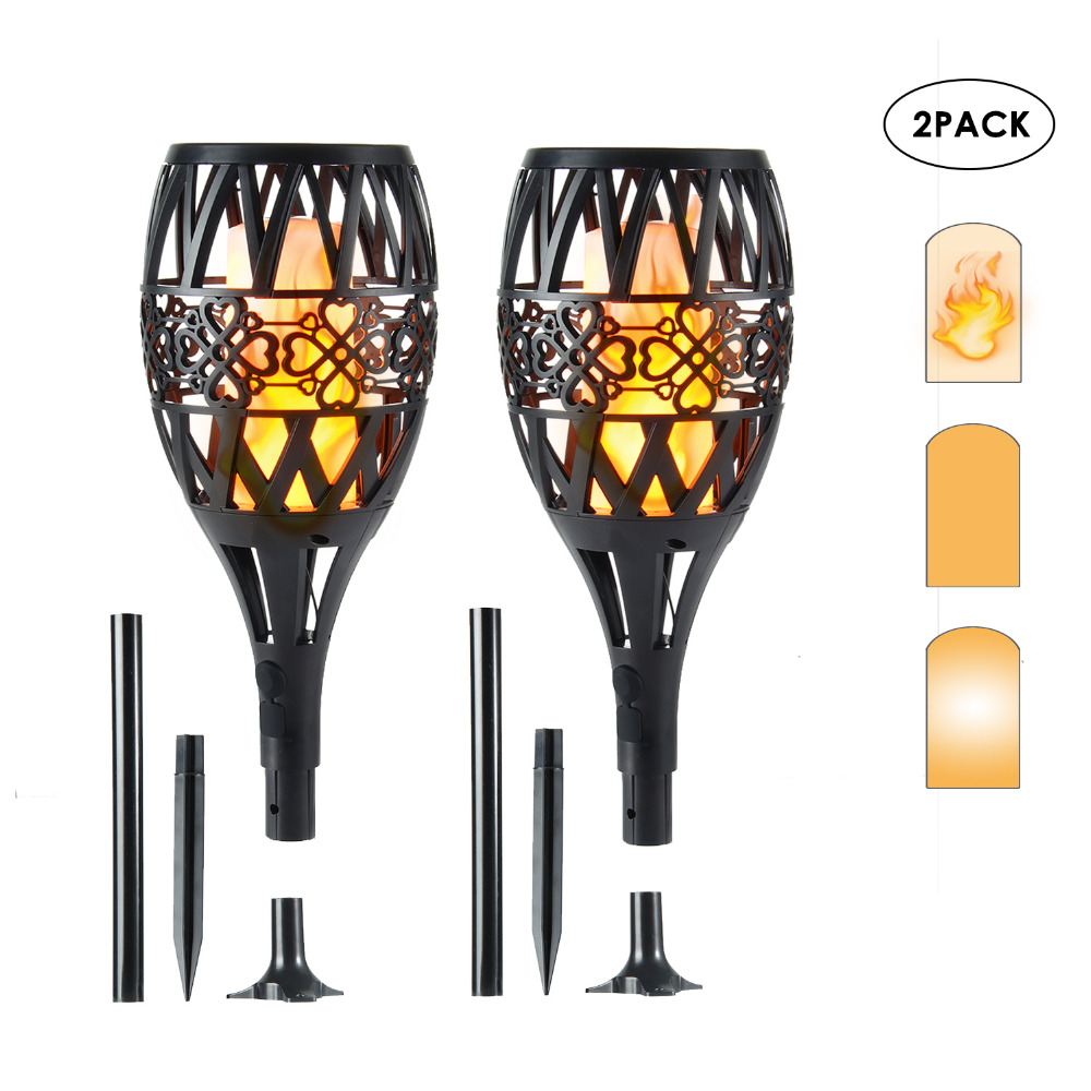 2 PCs Solar LED Flame Lamp 96 LEDs Dancing Flickering Torch Light Solar/USB Power Fire Light Outdoor Waterproof Garden Lawn Lamp