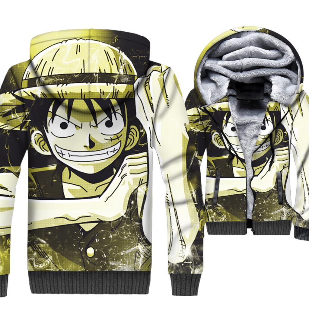 One Piece Luffy Hoodie Men 3D Print Anime Hooded Sweatshirt New Winter Fleece Harajuku Jacket The Pirate King Trafalgar Law Coat