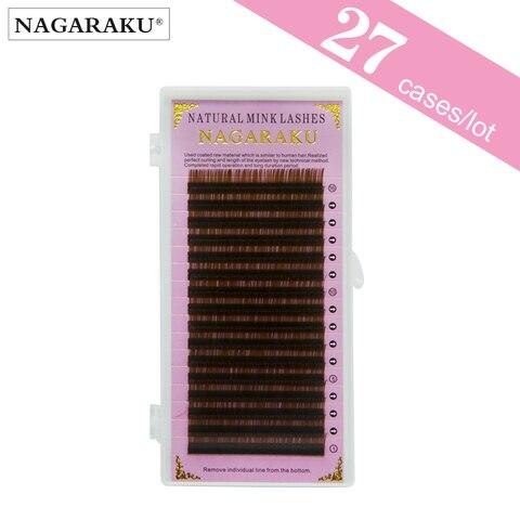 Cases por Atacado Nagaraku Marrom 16 Linhas Cílios Extensão Vison Sobrancelha Extensões Beleza Maquiagem 27 Luz Cor