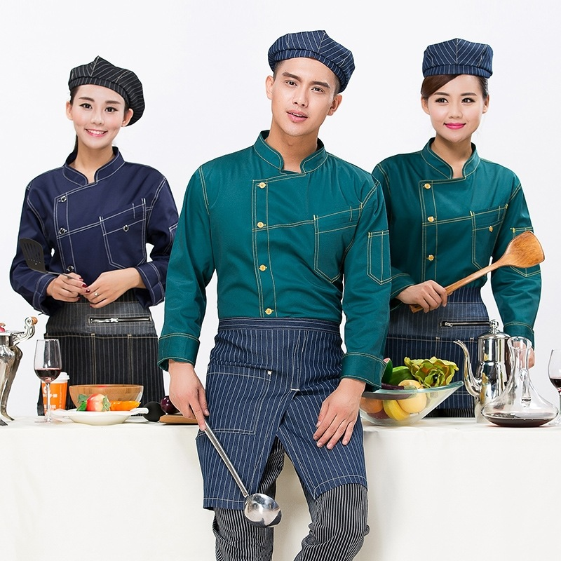 Men Kitchen Chef Jacket Long Sleeve Male Denim Design