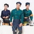 Men Kitchen Chef Jacket Long Sleeve Male Denim Design Hotel Work Uniform Restaurant Chef Top Women Hotel Uniform for Kitchen 89