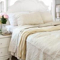 FADFAY לבן בז 'Vintage פרחוני שמיכת כיסוי המיטה 100% כותנה גודל מלכת סט שמיכת מצעים קובע כיסויי המיטה סט שמיכת מיטה