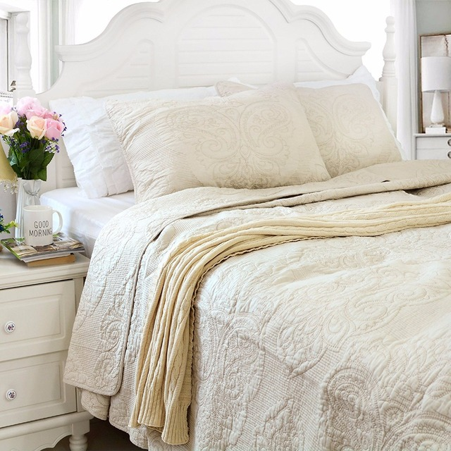 FADFAY Bedspread Coverlet 100% Cotton White Beige Vintage Floral Comforter  Set Queen Size Bed Quilt