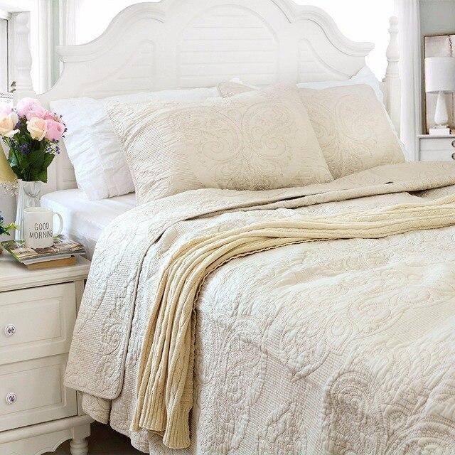 Fadfay Bettdecke Bettdecke 100 Baumwolle Weiß Beige Vintage Floral