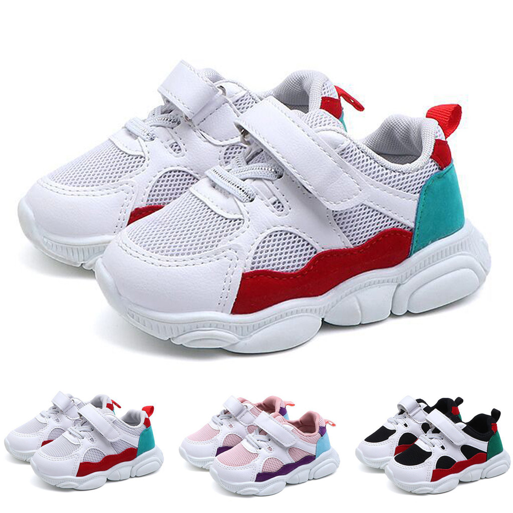 Toddler Kids Baby Girls Boys Cartoon Bear Sole Mesh Running Sport Shoes Sneakers