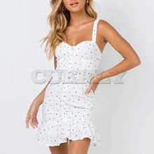 Cuerly 2019 summer dot print sundress women casual ruffle beach mini dress female vestidos L5