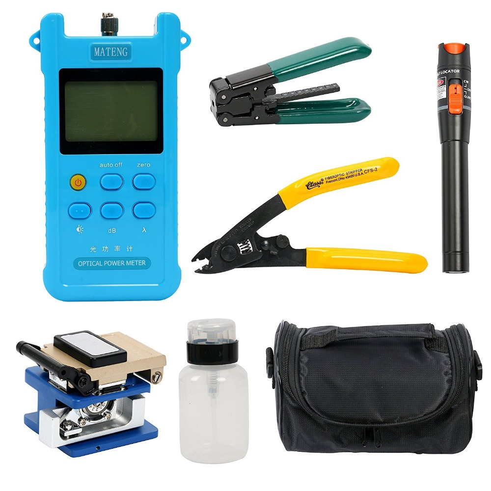 Jyttek Ftth Fiber Optic Tool Kits with FC-6S Cleaver Optical Power Meter Visual Fault Locator  Cable  StripperJyttek Ftth Fiber Optic Tool Kits with FC-6S Cleaver Optical Power Meter Visual Fault Locator  Cable  Stripper