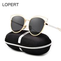 LOPERT Cat Eye Polarized Sunglasses Women Classic Brand Designer Glasses HD High Quality Rose Gold Mirror