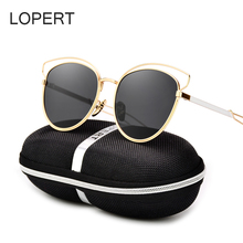 LOPERT Cat Eye Polarized Sunglasses Women Classic Brand Designer Glasses HD High Quality Rose Gold Mirror Sun Glasses UV400