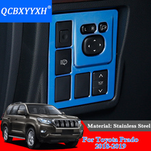 QCBXYYXH Car Styling Stainless Steel Headlight Switch Button Sequins Dedicated Interior Chrome Trim Cover For Toyota Prado 2018
