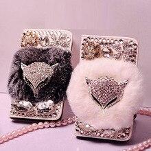 Luxuriöse Jewel Echt Kaninchen Pelz Bling Leder Brieftasche Fällen capa für iphone X XS MAX XR 5S 6 6 plus 7 8 Plus bling Telefon fall